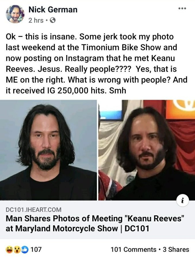 O post de Nick German no Facebook lamentando as fotos compartilhadas pelo apoiador de Donald Trump que o confundiu com o ator Keanu Reeves (Foto: Facebook)