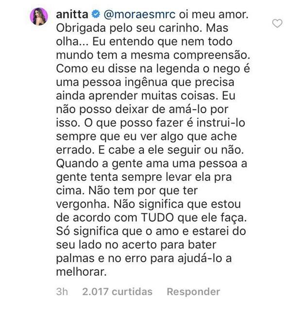 Anitta defende Nego  (Foto: Reprodução/Instagram)