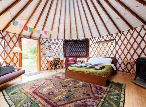 The 36th Street Urban Yurt, em Large Garden Oasis, Boise, Idaho, Estados Unidos (Foto: Airbnb/ Reprodução)