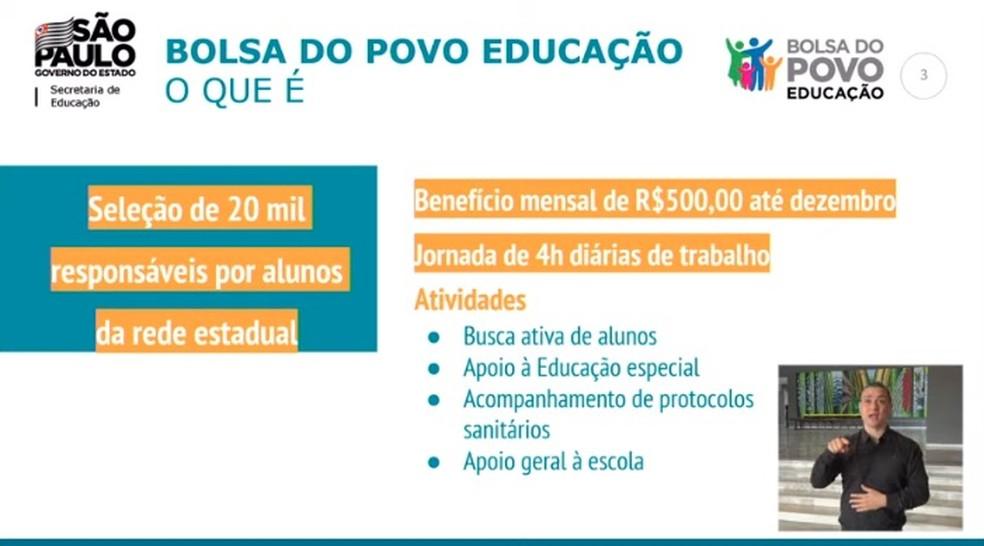 Critério do 'Bolsa do Povo/Educação', anunciado pelo governo de SP nesta quarta (14). — Foto: Reprodução/Youtube