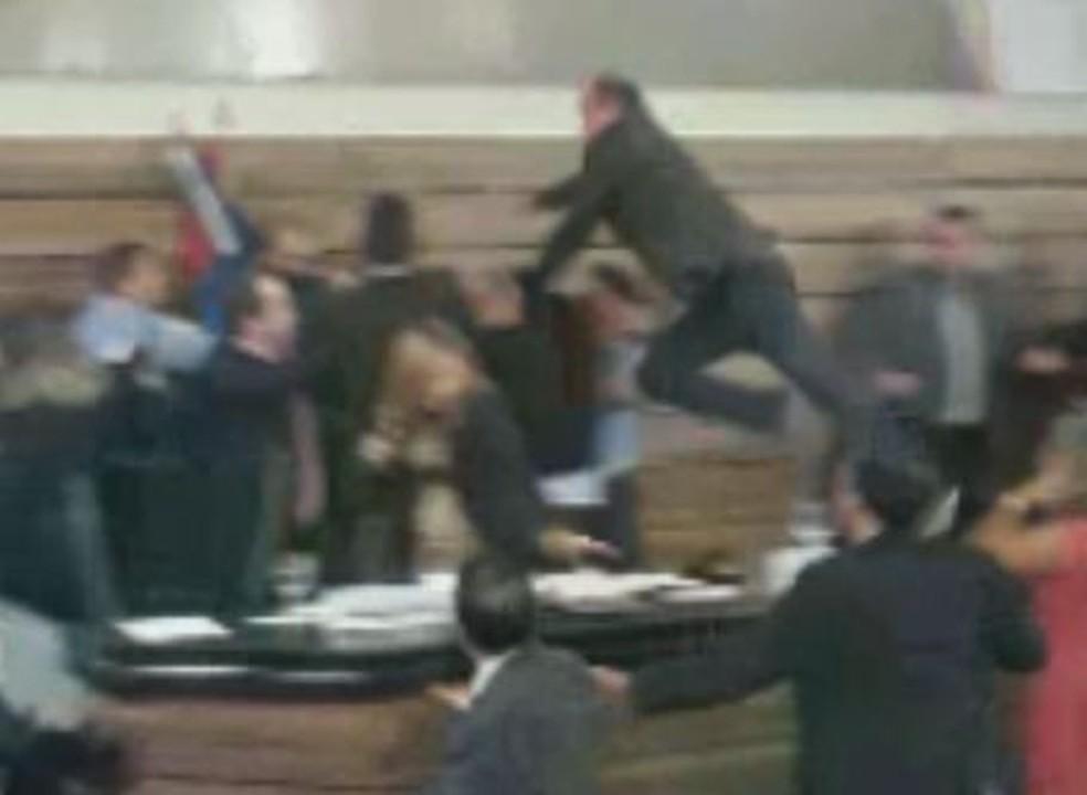 Briga aconteceu no plenário da Câmara de Vereadores — Foto: Reprodução