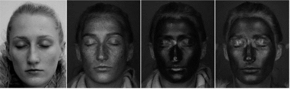 Da esq. para a dir.: rosto fotografado com câmera normal, com câmera UV; com filtro solar e com hidratante — Foto: UNIVERSIDADE DE LVERPOOL