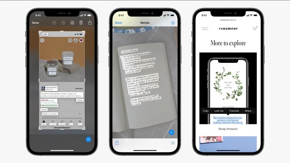 iOS 15: Live Text permite extrair escritos de imagens — Foto: Reprodução/Apple
