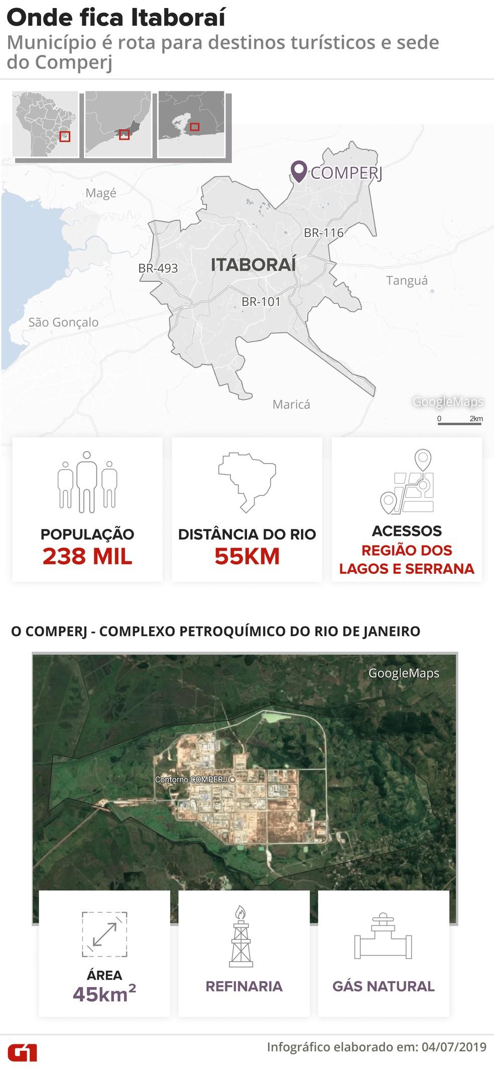Mapa mostra onde fica Itaboraí e destaca o Comperj — Foto: Infografia: Juliane Monteiro/G1