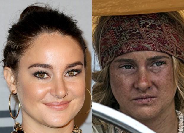 Shailene Woodley: transformação para filme (Foto: Getty Images e Divulgação)