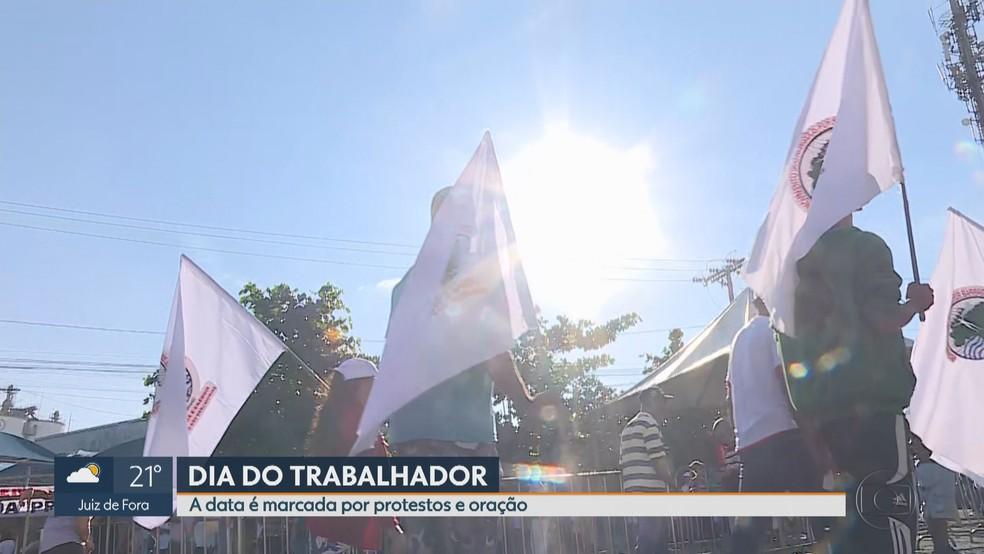 Vítimas de Brumadinho são lembradas durante Missa do Trabalhador na Grande BH — Foto: Reprodução/TV Globo