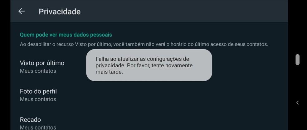 WhatsApp exibe mensagem de falha quando usuário tenta atualizar configurações de privacidade. — Foto: Reprodução