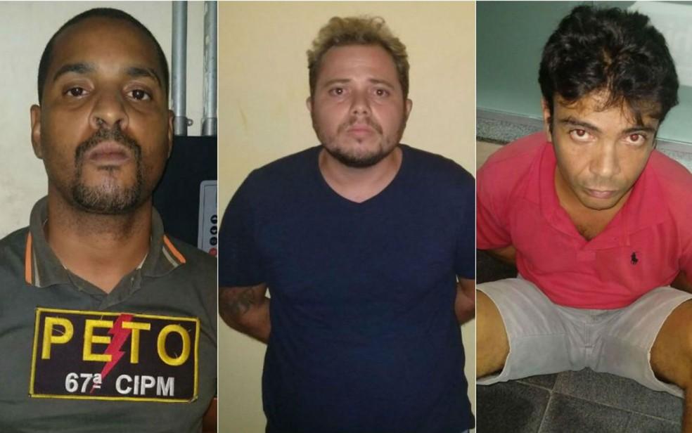 Da esquerda para a direita: Acarajé, Cléber Manga e o terceiro homem, ainda não identificado (Foto: Divulgação/SSP-BA)