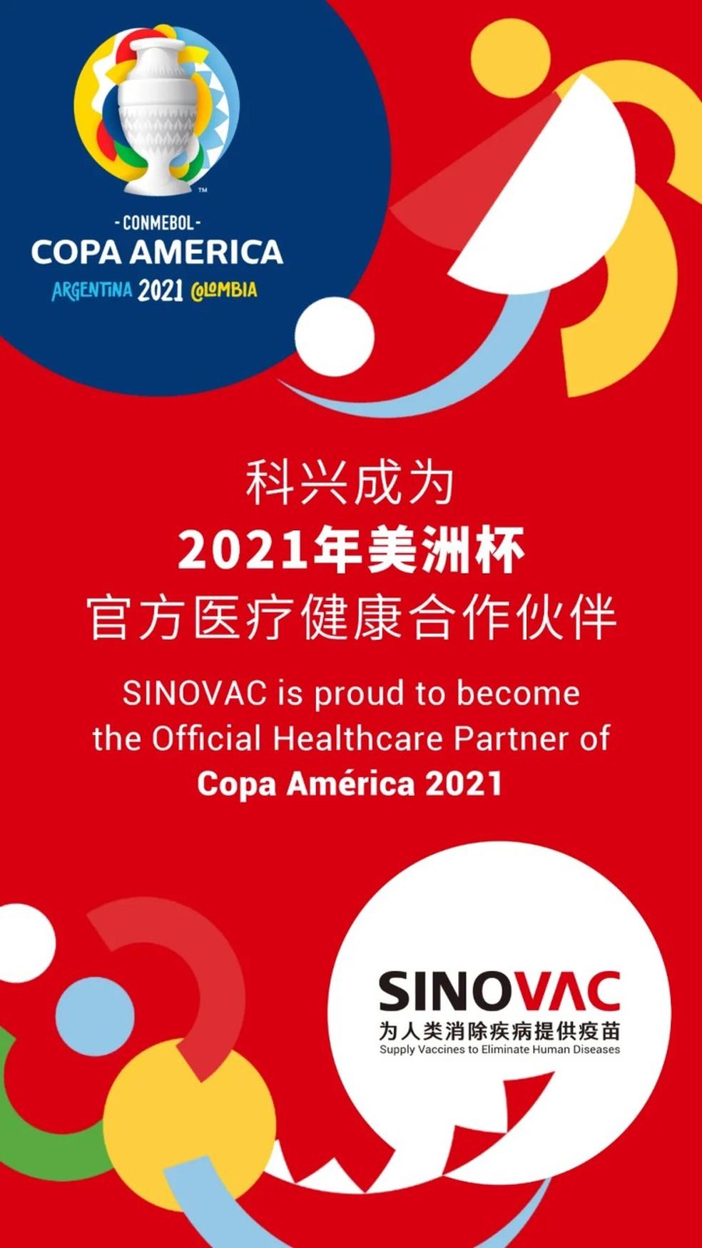 """Sinovac aparece como """"parceiro oficial de saúde"""" da Copa América — Foto: Reprodução"""
