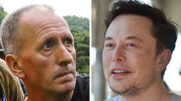 Musk (à dir.) alegou que Unsworth (à esq.) era um 'estuprador de crianças' (Foto: AFP/BBC)