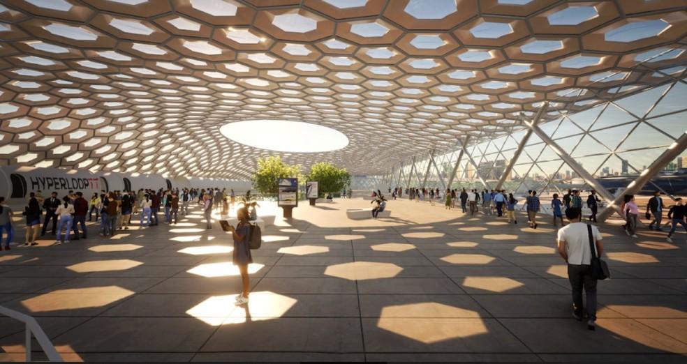 Design da estação em Porto Alegre da HyperloopTT — Foto: HyperloopTT/Divulgação
