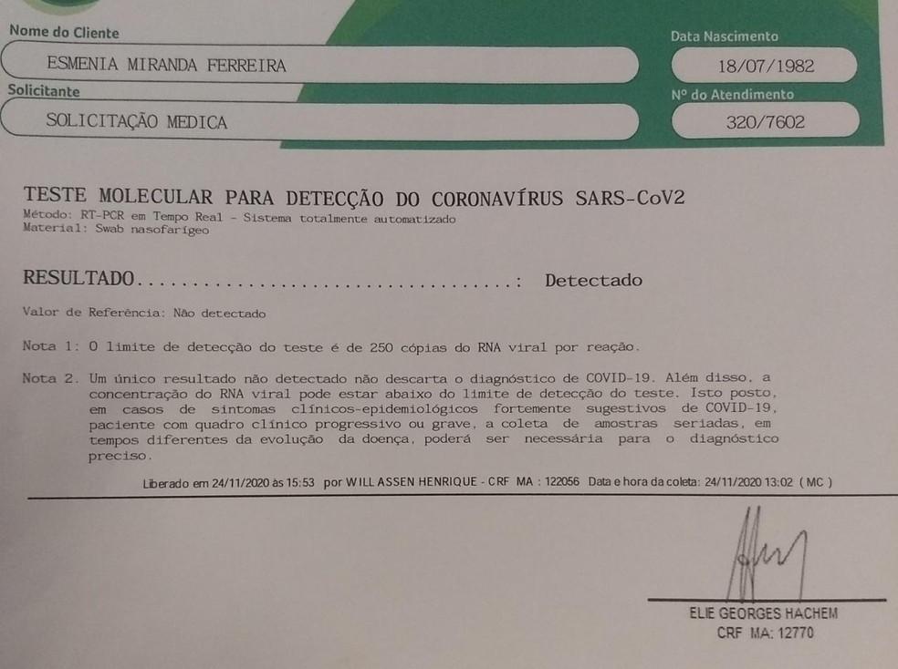 Teste para Covid-19 apresentado pela equipe de Esmênia Miranda — Foto: Divulgação