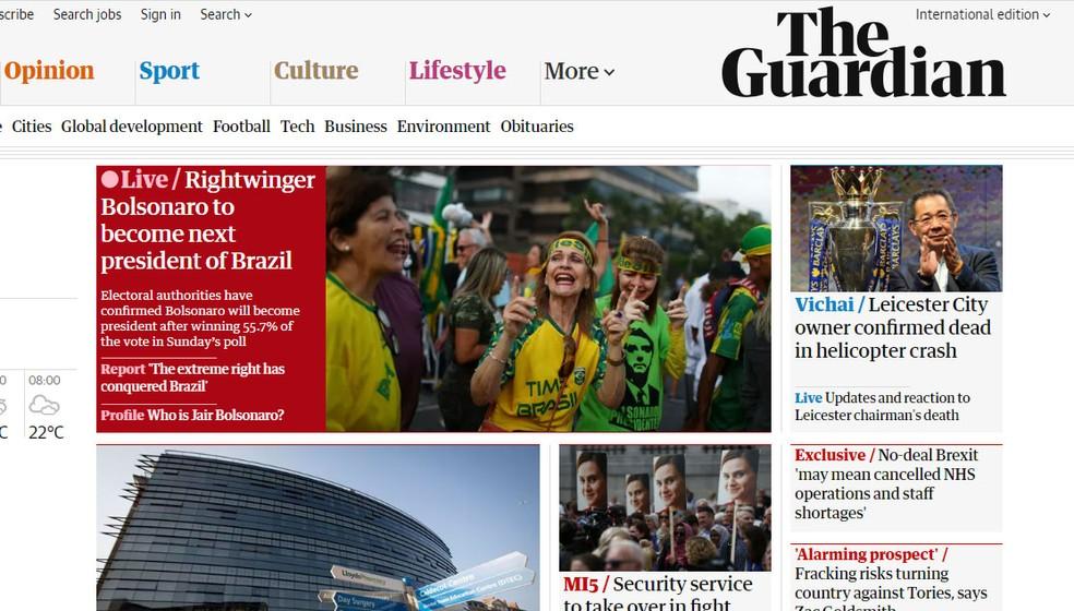 Jornal britânico 'The Guardian' acompanhou apuração e repercussão de eleição presidencial brasileira em tempo real — Foto: Reprodução/The Guardian