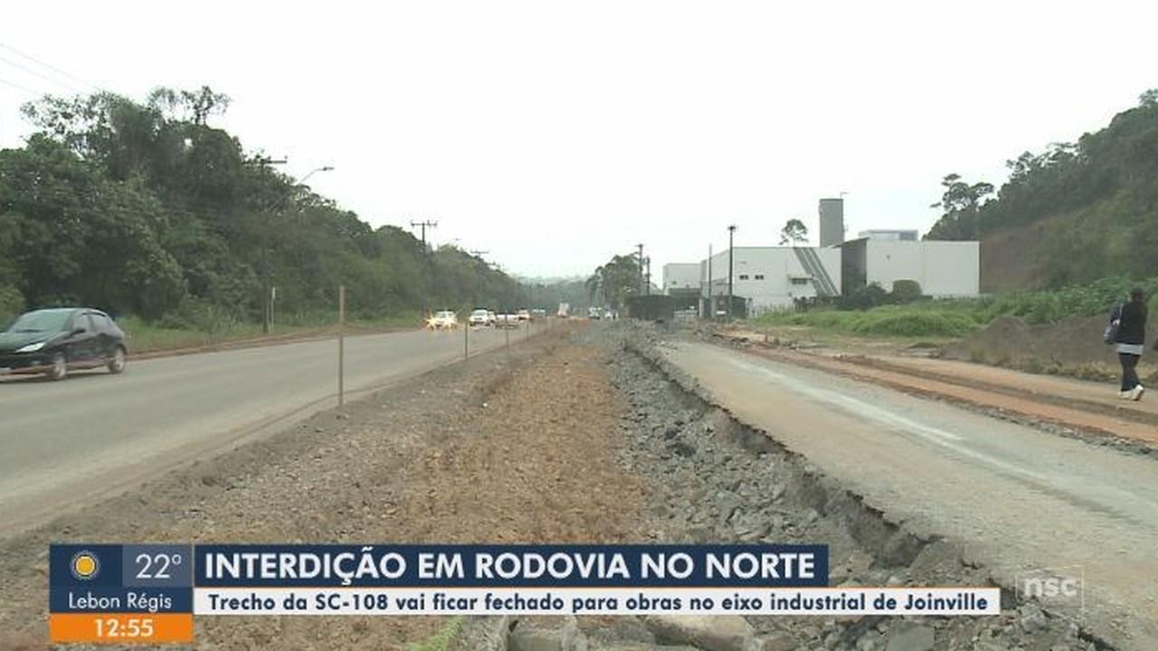 Trecho da SC-108 será fechado para obras no eixo industrial de Joinville