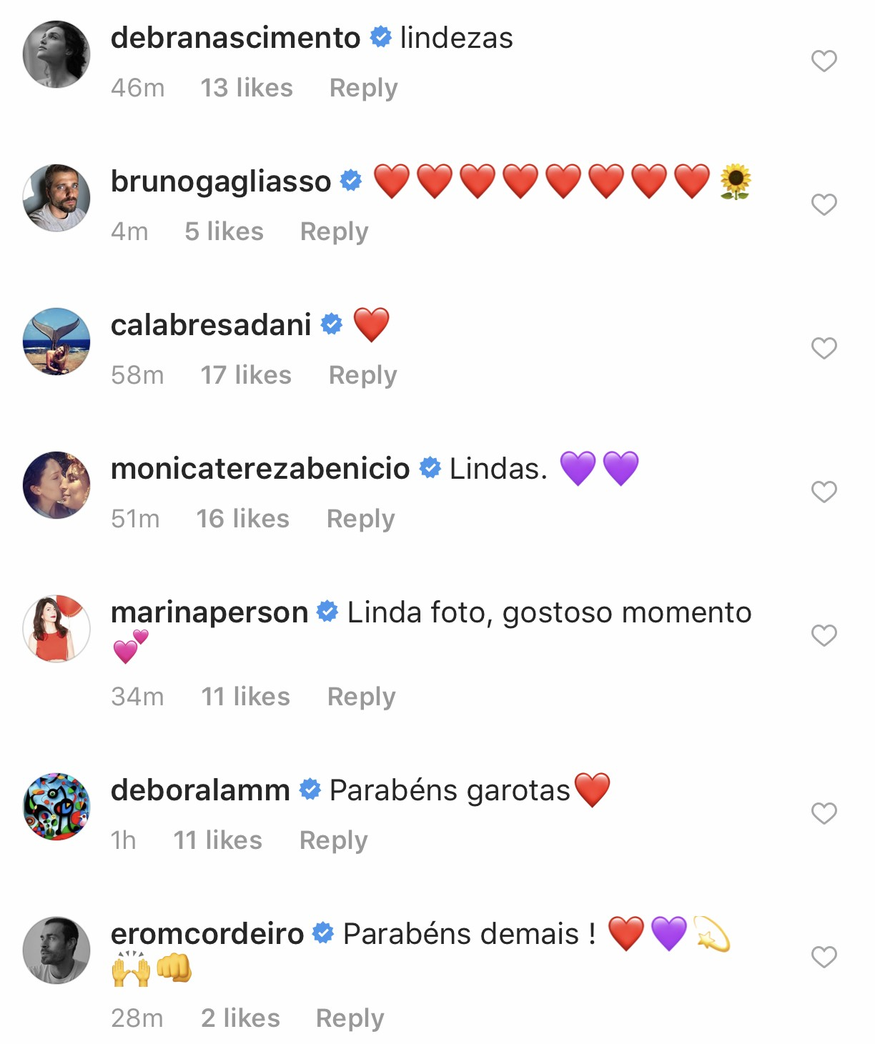 Comentários de famosos nas fotos de Nanda Costa (Foto: Reprodução / Instagram)