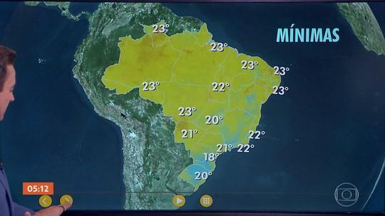 Confira a previsão do tempo para todo o país nesta terça-feira (20)