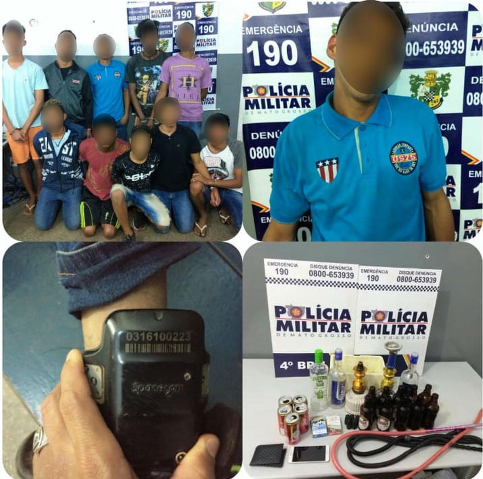 Menores foram detidos em festa em Várzea Grande (Foto: PM/Divulgação)