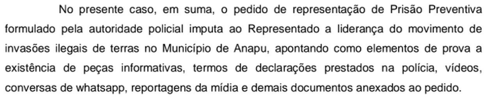 Trecho do pedido de prisão preventiva e busca e apreensão contra Pe. Amaro expedido pela Comarca de Anapu, sudoeste do Pará. (Foto: Reprodução / Tribunal de Justiça do Pará)