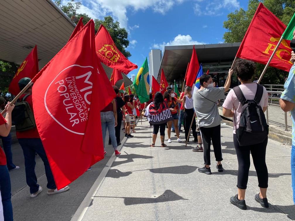 Manifestantes fazem fila indiana para manter distanciamento social, no Recife, neste sábado (24) — Foto: Priscilla Aguiar/G1