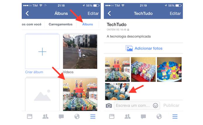 Abrindo a foto que deseja deletar no Facebook para iOS (Foto: Reprodução/Marvin Costa)