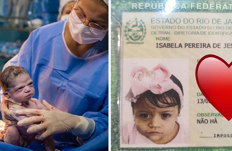Isabela ao nascer e quando tirou o Rg (Foto: Arquivo Pessoal )