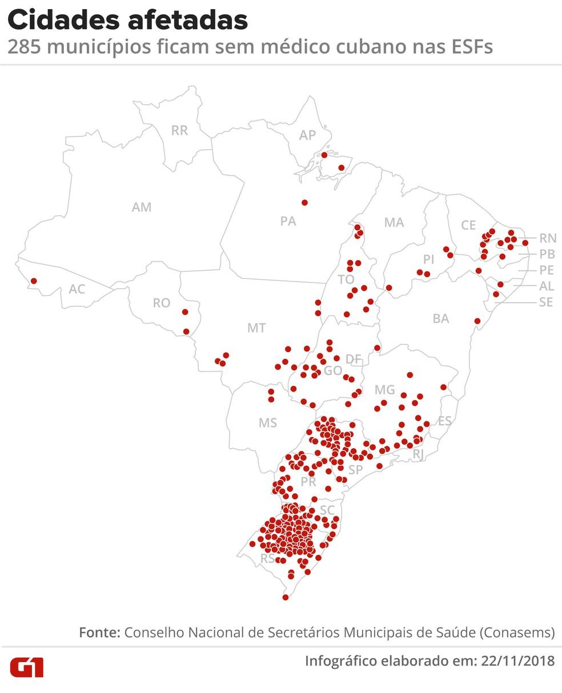 Cidades afetadas pela saída dos médicos cubanos — Foto: Arte G1