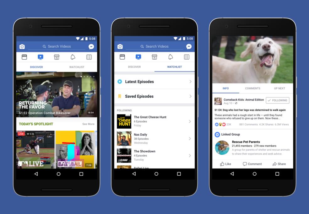 Watch é a nova plataforma de vídeos dentro do Facebook, também no celular (Foto: Divulgação/Facebook)