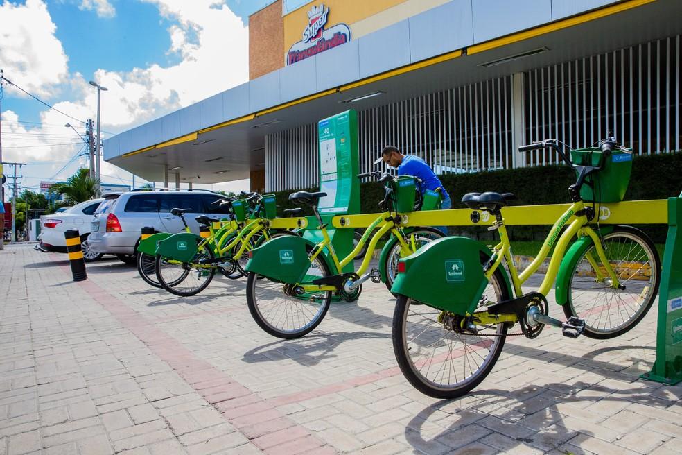 Bicicletas compartilhadas em Fortaleza — Foto: Nah Jereissati/Agência Diário