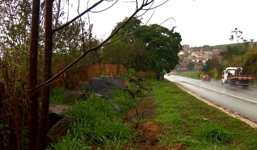 Casas ficam em terrenos próximos às margens da BR-459 — Foto: Ricardo Caroba/EPTV