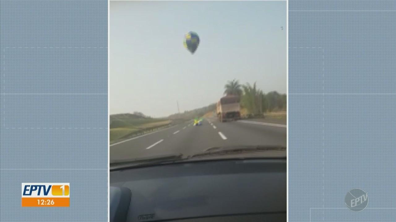 Imagens mostram queda de balão em rodovia de Campinas