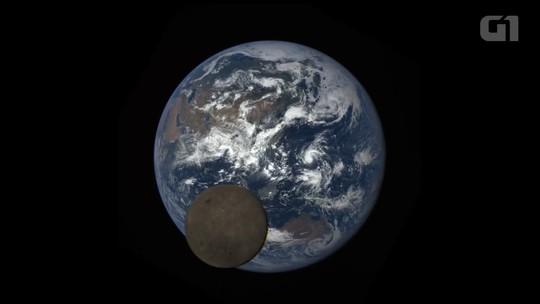 Câmera da Nasa flagra lua cruzando lado iluminado da Terra; veja vídeo