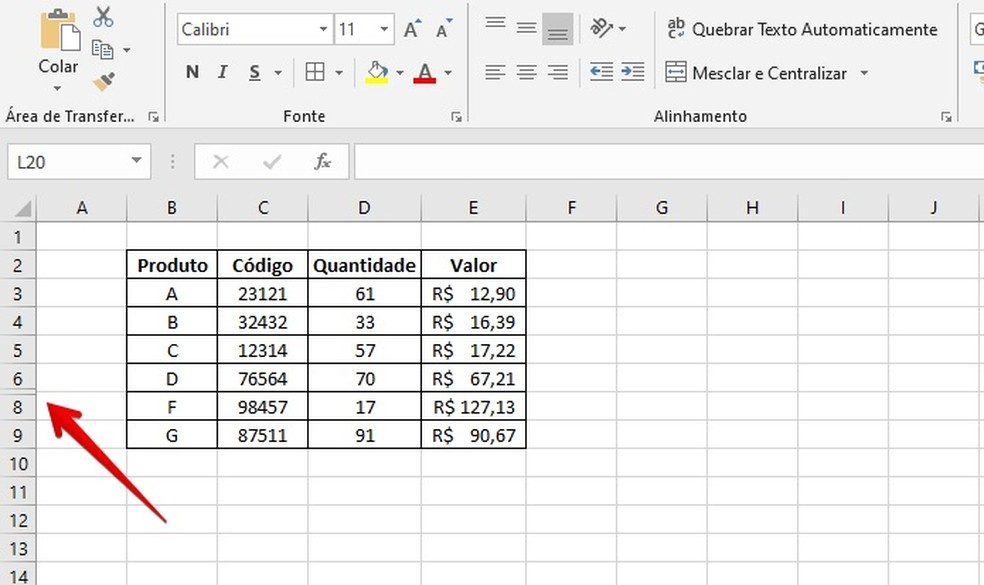 Indicador de linha oculta no Excel — Foto: Reprodução/Helito Beggiora