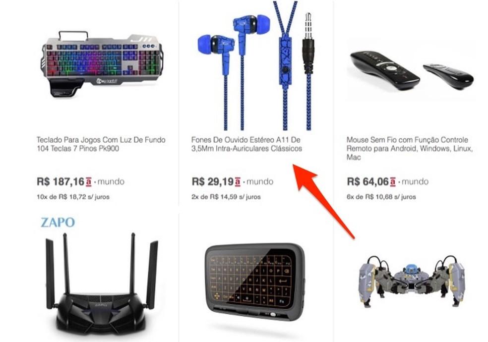 Ação para acessar a página de venda para um produto no site Americanas Mundo — Foto: Reprodução/Marvin Costa