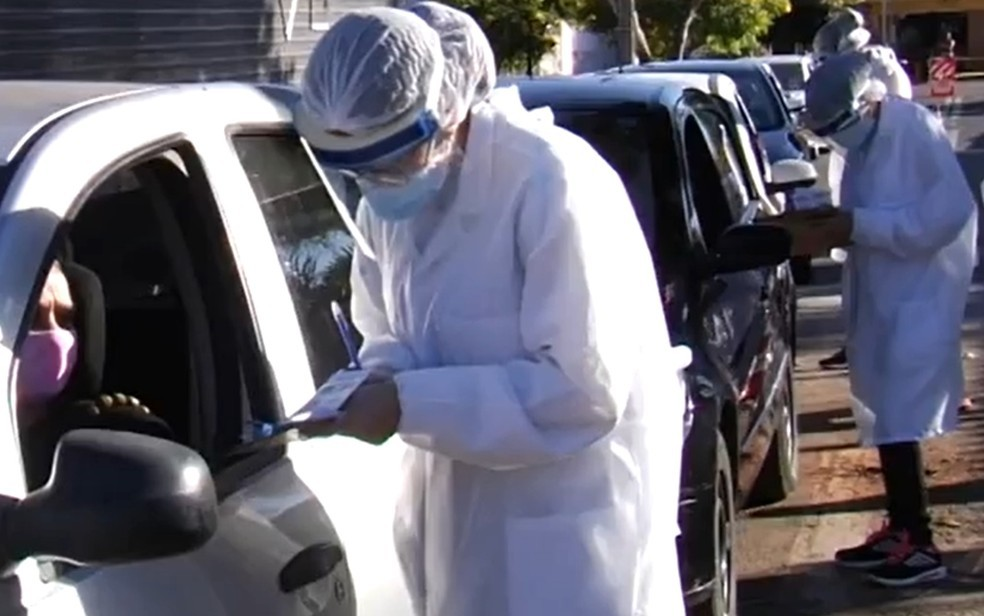 SMS inicia testagem ampliada em bairros com alto índice de propagação de Covid-19, em Goiânia, Goiás. — Foto: Reprodução/ TV Anhanguera