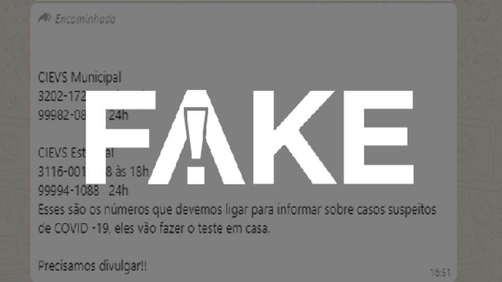 É #FAKE mensagem que indica números de Centros de Informações Estratégicas em Vigilância em Saúde para acionar exame de coronavírus em casa — Foto:  G1