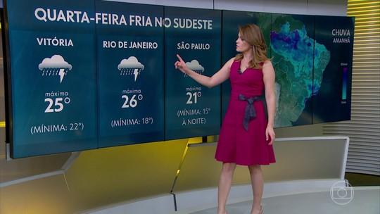 Temporais com chuva, raios e ventania podem atingir o Sudeste entre terça e quarta-feira