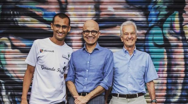 Edu Lyra, Satya Nadella e Jorge Paulo Lemann, em encontro no Brasil (Foto: Divulgação)