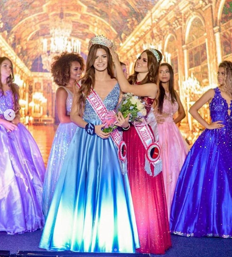 Joyce foi eleita Miss Teen Paraíba Universe no dia 24 de setembro deste ano, em João Pessoa — Foto: Joyce Freitas/Arquivo Pessoal