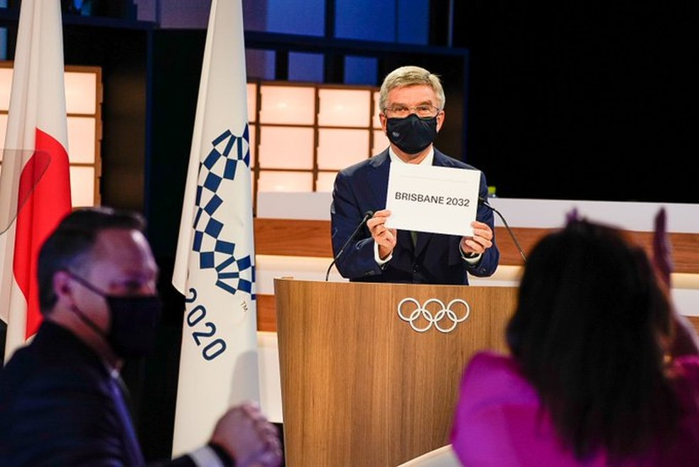 Thomas Bach anuncia Brisbane como sede das Olimpíadas de 2032 — Foto: COI