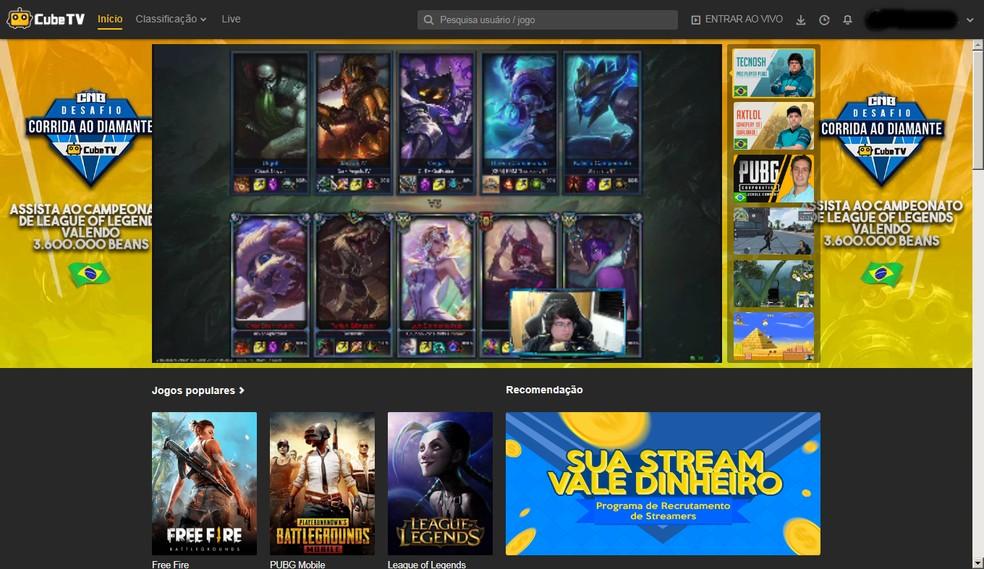 O site da Cube TV oferece a mesma interface na homepage para usuários logados e não logados — Foto: Reprodução/Bruna Telles