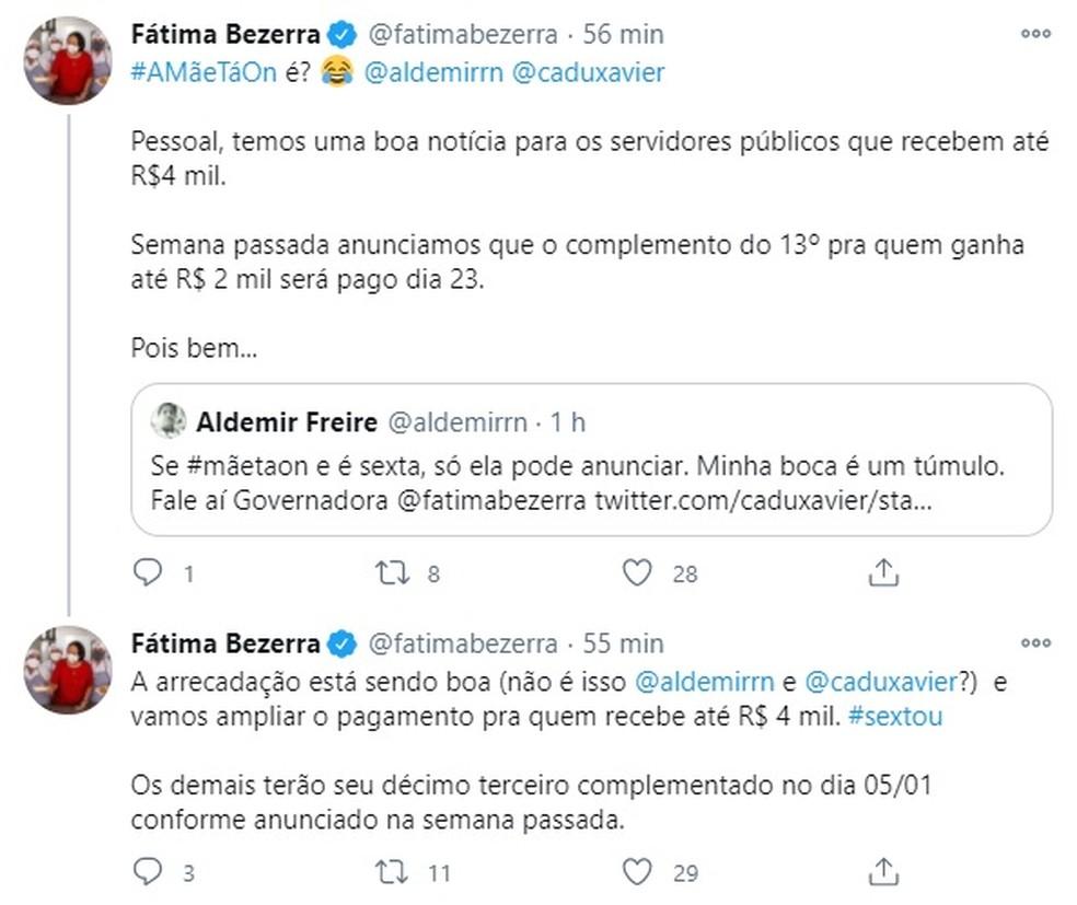 Governadora Fátima Bezerra anunciou antecipação do pagamento — Foto: Divulgação