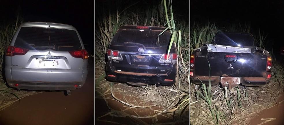 Carros usados pelos criminosos foram localizados em uma área de canavial no domingo entre Chavantes e Santa Cruz do Rio Pardo — Foto: Arquivo pessoal