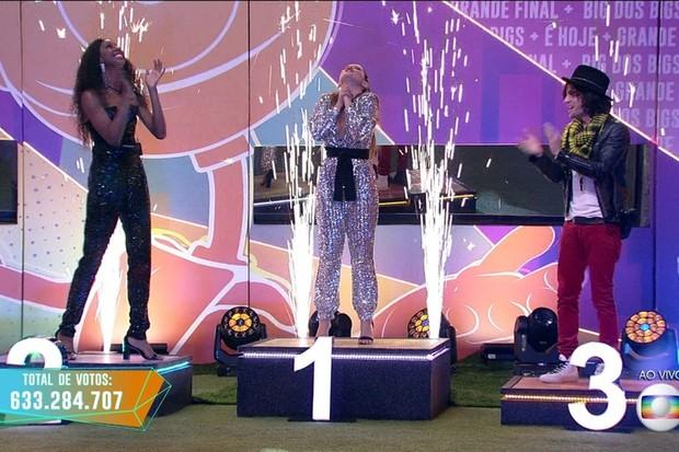 Camilla de Lucas, Juliet Freire und Fayoke im BBB21-Finale (Foto: Globo)