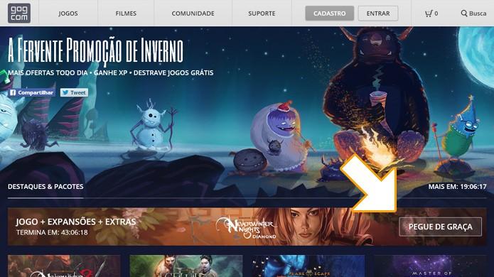 Clique em Pegue de Graça para obter Neverwinter Nights gratuitamente no Good Old Games com apenas um clique (Foto: Reprodução/Rafael Monteiro)