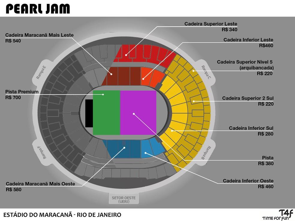 Mapa do Maracanã para show do Pearl Jam (Foto: Divulgação/T4F)