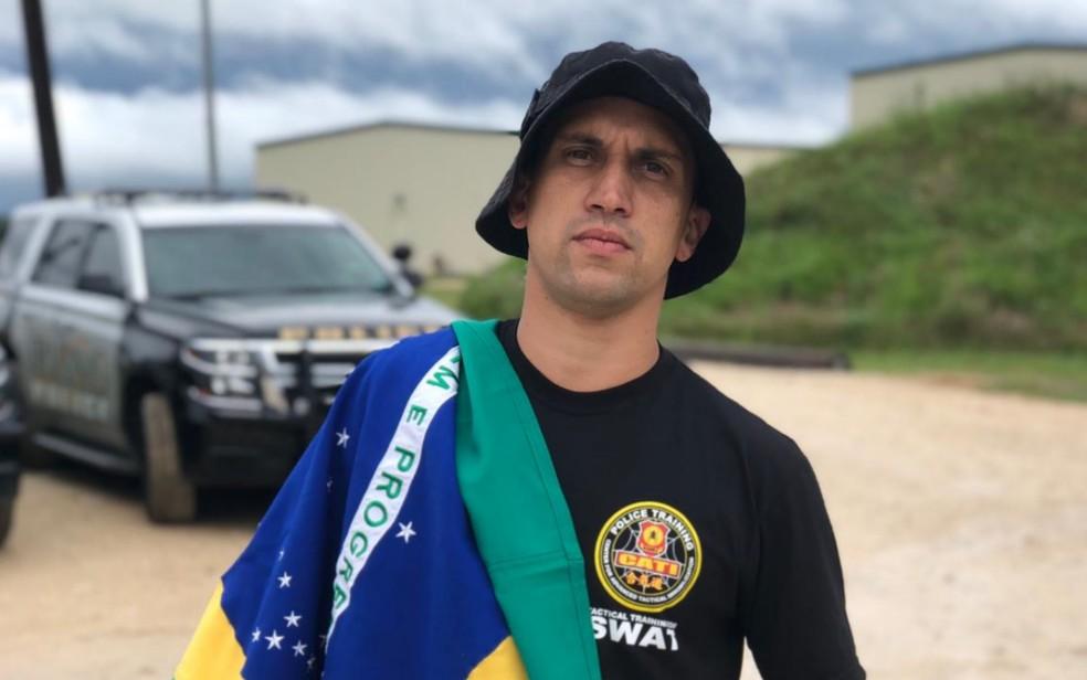 Júlio César Ferreira Júnior é soldado da PM em Goiás e foi convidado para curso no grupo de elite dos EUA  — Foto: Reprodução/Arquivo Pessoal