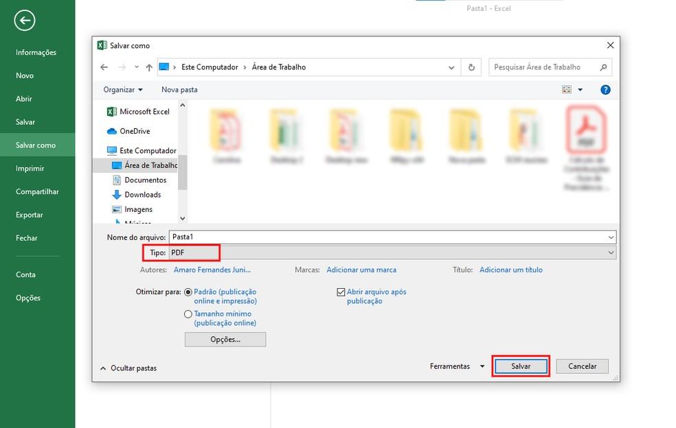 Salvando um arquivo do Excel em formato PDF — Foto: Reprodução/Rodrigo Fernandes