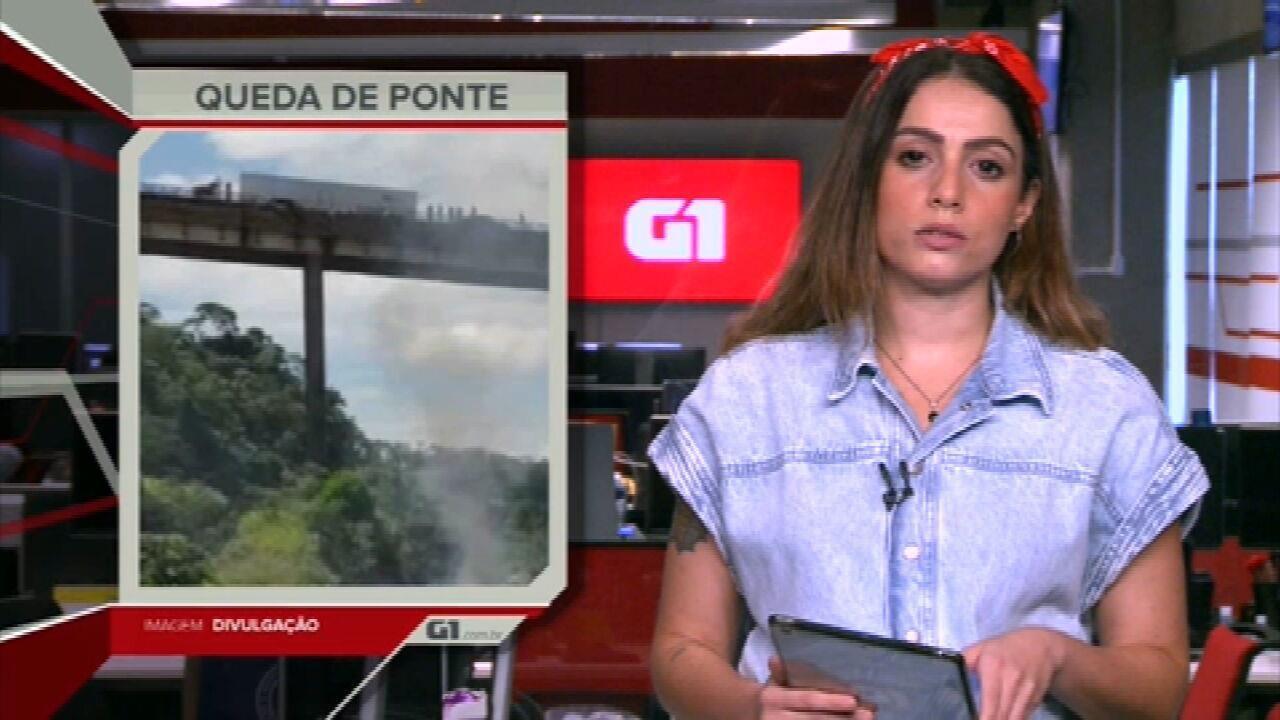 G1 em 1 Minuto: Caminhão cai de ponte em MG, mesmo local onde acidente com ônibus matou 19 pessoas há um mês