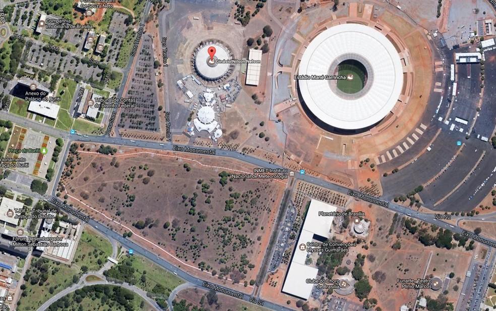 Eixo Monumental próximo ao Estádio Nacional e ao ginásio Nilson Nelson (Foto: Google/Reprodução)