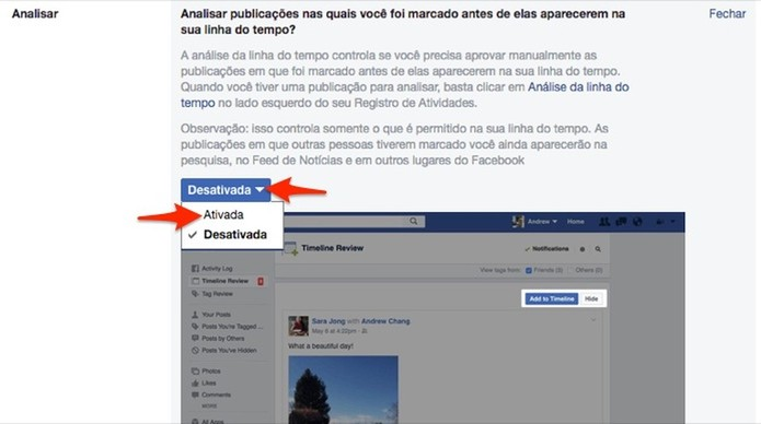 Ação para ativar a opção para analisar marcações de amigos em posts do Facebook (Foto: Reprodução/Marvin Costa)